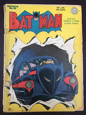 Golden Age BATMAN #20 - Dec. 1943 - 1st app. THE BATMOBILE! JOKER appearance!!