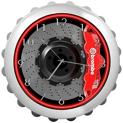 Brembo Big Brakes Neon Wall Clock Red 6-Piston NEW