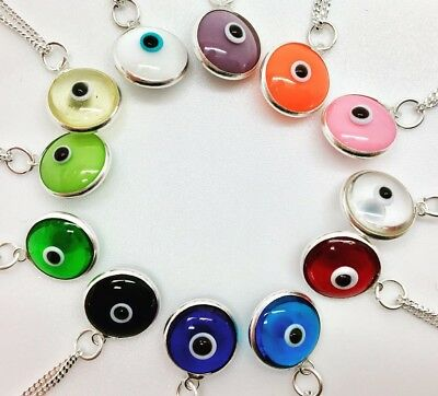 925 Sterling Silver Evil Eye Mati Nazar Pendant Charm Round Necklace Girl Women