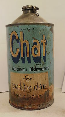 Vintage 50's Hasp Cone Top Can Chat Liquid Detergent For Automatic Dishwashers