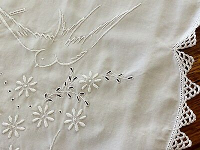 Stunning Vintage Hand EMBROIDERED White LINEN Tablecloth Crochet Edge BLUE BIRDS