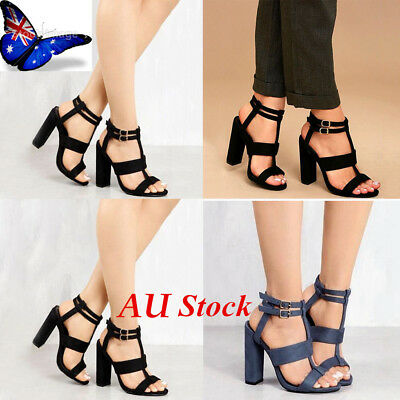 Womens Double Ankle Strap Block Heel Sandals Strappy Buckle Prom Party Shoes 3-7