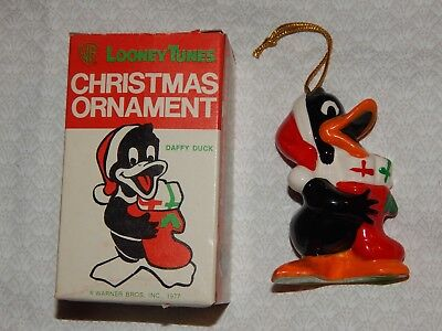 Vintage Daffy Duck Ceramic Christmas Ornament - 1977 - with Original Box