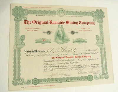 1908 Original Rawhide Mining Co Stock Certificate Nevada Goldfield Extra Fine