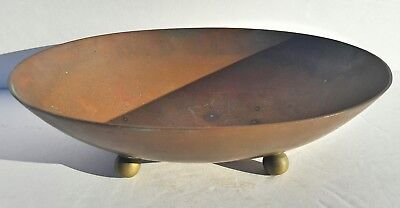 Antique 19th c. Brass Four Legged Dish With Misspelled China On Bottom