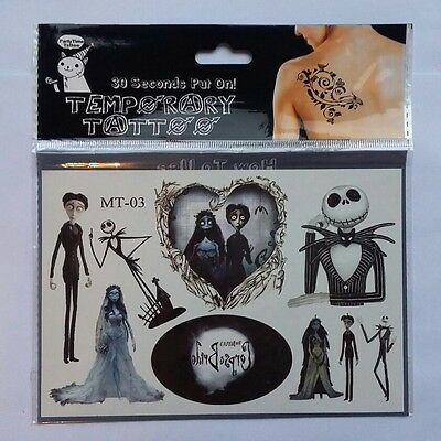 2x The Corpse Bride Temporary Tattoos ~ Tim Burton Unique Gifts Movies Cartoons