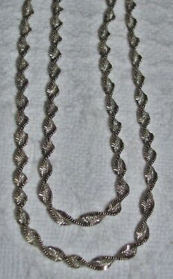 "Sterling Silver .925 Twisted Spiral Herringbone Fancy Necklace Chain - 20"" Italy"