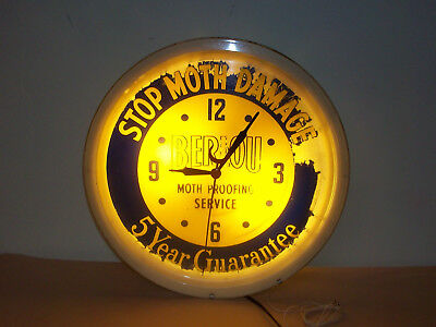 """Lighted Berlou Moth Proofing Service Clock/Sign """"it works"""""""