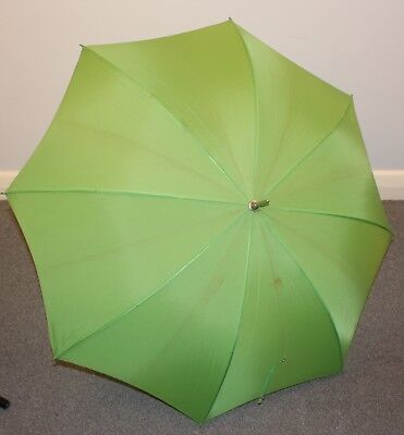Green Original Vintage Umbrella With White Handle.
