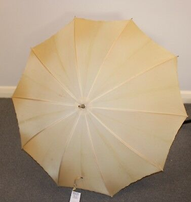 Beige / Yellow Original Vintage Umbrella With Wooden Handle.