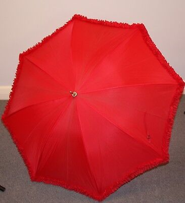 "RED ORIGINAL VINTAGE 1960s UMBRELLA WITH FRILL & FANCY HANDLE."" FULTON"""