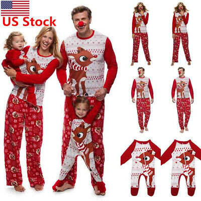 US New Christmas Family Matching Xmas Print Parent-child Clothing Suit Outfits