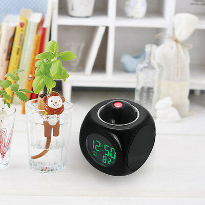 Projection Digital Weather LCD Snooze Alarm Clock Voice Talking LED Backlight