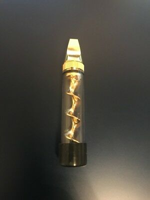 New Designed Gold Mini Twisty Smoking Glass Blunt Metal Tip W/ Cleaning Tool