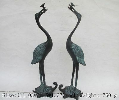Ancient Chinese bronze a pair of red-crowned cranes. The best statue