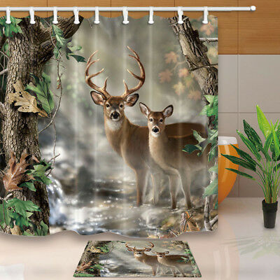 new~13 pc Dk Red Tan Brown DEER BEAR Forest Hunting Fabric~SHOWER CURTAIN~Hooks