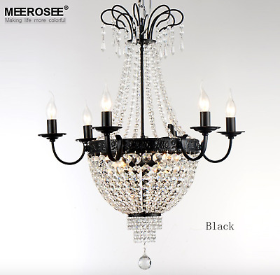 French Empire Crystal Chandelier Light Fixture Vintage Crystal Lighting Wrought