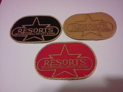 3 Diff.***embroidered Casino Patches*** Resorts International  Atlantic City,nj