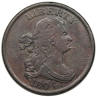 1804 Draped Bust Half Cent, Spiked Chin, C-6, EDS, nice VF