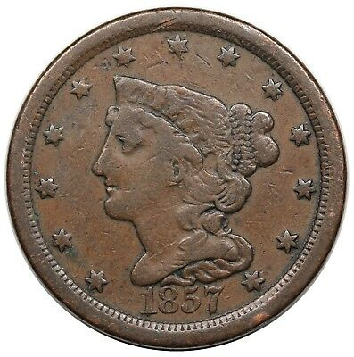 1857 Braided Hair Half Cent, C-1, nice F-VF