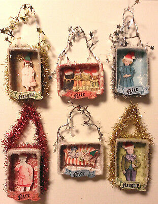 Altered Art Mixed Media Assorted Matchbox Christmas Naughty/nice Ornaments Ooak