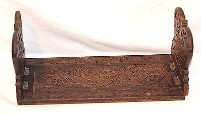 RARE Antique Anglo-Indian Hand Carved Dark Wood Expandable Book Rack Shelf Ends