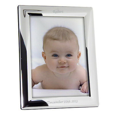 "Personalised Silver Plated Photo Picture Frame - 5"" x 7"" Engraved Gift New Baby"