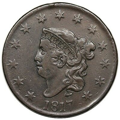 1817 Coronet Head Large Cent, N-2, R.3, VF-XF