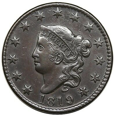 1819/(8) Coronet Head Large Cent, Large Date, N-2, XF detail