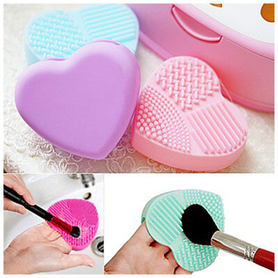 Women Heart Style Makeup Brush Glove Beauty Hand Washing Cleaning Tools Silicone