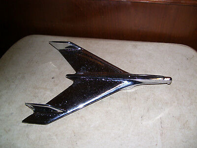 "VINTAGE 1950s AIRPLANE JET ROCKET CHROME HOOD ORNAMENT 3731752 14"" L X 10 1/2"" W"