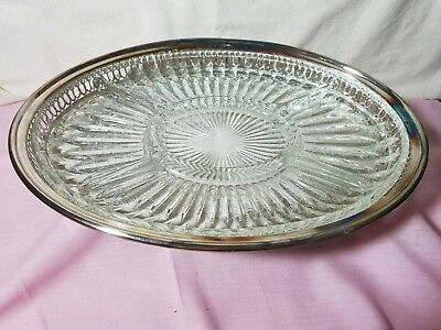 Leonard Silverplate Oval Serving Tray With Divided Glass Insert