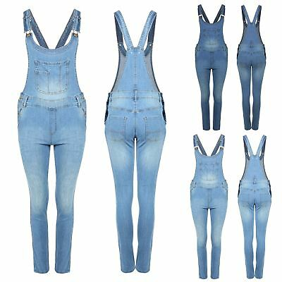 New Womens Denim Faded Slim Long Pinafore Jeans Overall Jumpsuit Ladies Dungaree