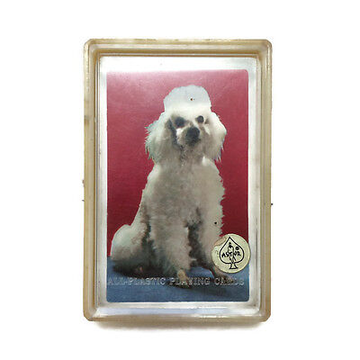 Vintage Astor French Poodle White Deck of Playing Cards  Plastic Case Hong Kong