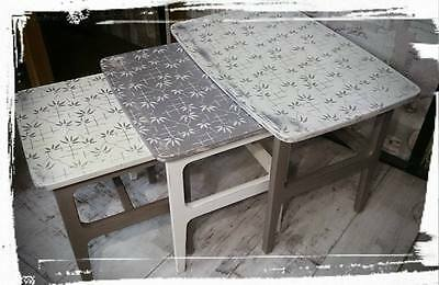 Unique Nest of three tables, hand painted (upcycled)