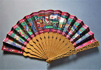 ANTIQUE CHINESE CANTONESE HAND CARVED SANDALWOOD FIGURAL 1000 FACES FAN, 19th CE