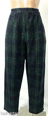 VINTAGE Forrest GREEN navy BLUE tarten PLAID woollen HIGH WAISTED pants 8 10
