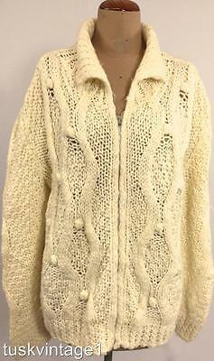 VINTAGE CHUNKY Cream cable ZIP UP Italian hand knit  JACKET cardigan 16 18 2X