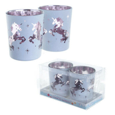 Unicorn Design Glass Candle Holder Set of 2 Home Decoration Gift Night Light NEW