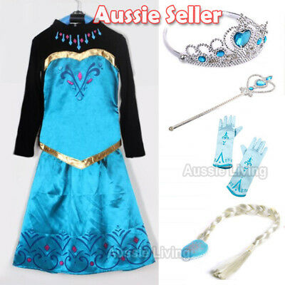 Girls Frozen Princess Queen Elsa Costume Party Birthday Dress 1-7 Years