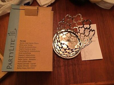 Partylite Silver Garden Gate Candle Sleeve Decorative Home Decor New In Box