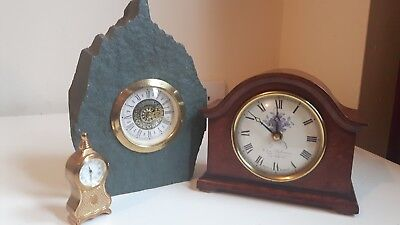 3x Vintage clocks, Mercedes West Germany, Brass Minitaure, Mantel Clock (Debnam)