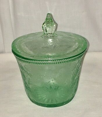 "US Glass STRAWBERRY* GREEN* 3 1/2"" SUGAR w/ LID*"