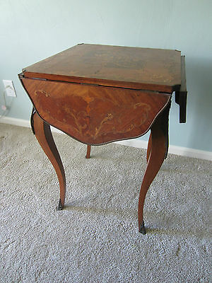 Antique Inlaid Wooden Flip Up Sides Game Table Made In France