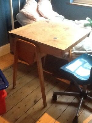 Large, Heavy Wooden Vintage Lift Up Lid School Desk.