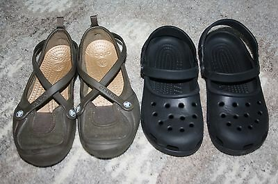 2 Pairs of Women's Size 6 Crocs Shoes~Brown and Black~Nice!