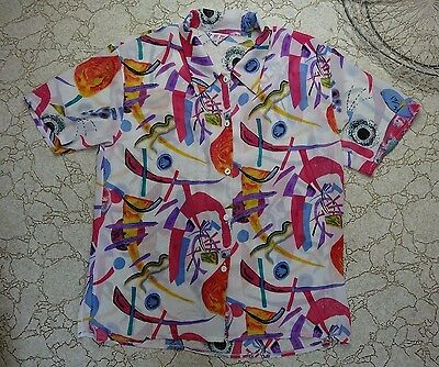 VINTAGE 80s 1980s Sheer Blouse Bright Abstract Patterns Costume Party Shirt