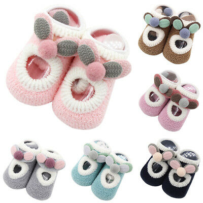 Newborn Boys Girls Baby Toddler Booties Shoes Socks Moccasins Non-Slip Slippers