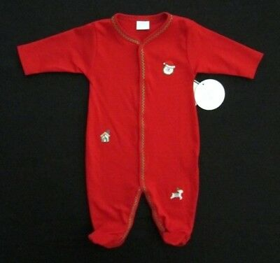 Edgehill Collection Infant Baby 0-3M Red One-Piece Christmas Holiday Pajamas