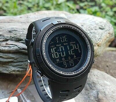 SKMEI Mens 1251 All Black Military Style Army Walking Sports Waterproof Watch